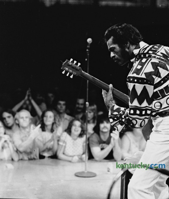Chuck Berry performed at the Gram Parson's Memorial Country Rock Festival Friday July 2, 1976 in UK's Memorial Coliseum. Berry went on at 1 am and after a lengthy set refused to leave the stage. Promoters finally turned the power off at 2:30am. What was billed as a three-day music festival met with financial problems and Sunday's show, which was to feature Harry Chapin, was canceled. Some of the performers that did take the stage on Friday and Saturday included the Nitty Gritty Dirt Band, Doug Ross,  Ian Gillan, The Flying Burrito Brothers,  Roger McGuinn and The Band. Ray Charles was backstage Saturday night but refused to go on unless he was paid in advance. Photo by Ron Garrison | Staff