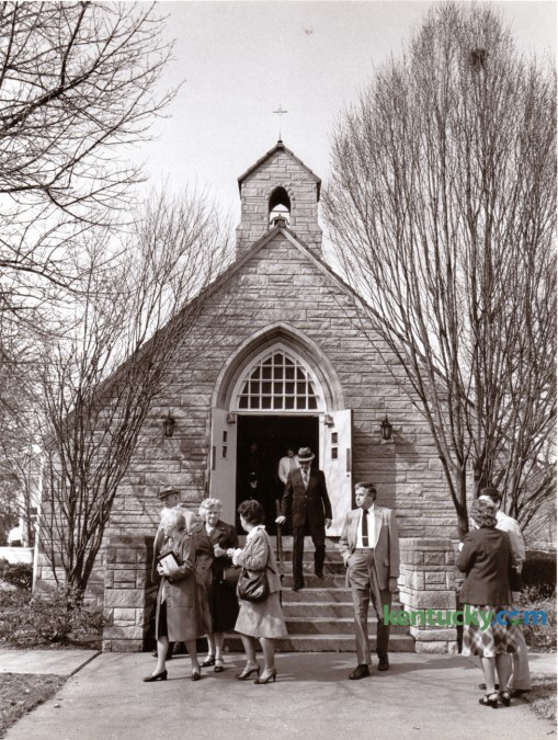 Members of the Faith Lutheran Church on Tates Creek Road following the Sunday service February 19, 1984. Photo by John C. Wyatt | Staff