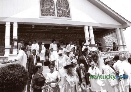 The congregation of the First African Baptist Church following Sunday service July 12, 1987. This was the first Sunday service in their new church building on Price Road. Photo by John C. Wyatt | Staff