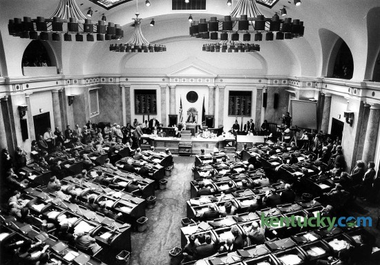 Kentucky Gov. Wallace Wilkinson address the House of Representatives during the opeing day of the General Assembly Jan. 5, 1988. Photo by Charles Bertram | staff