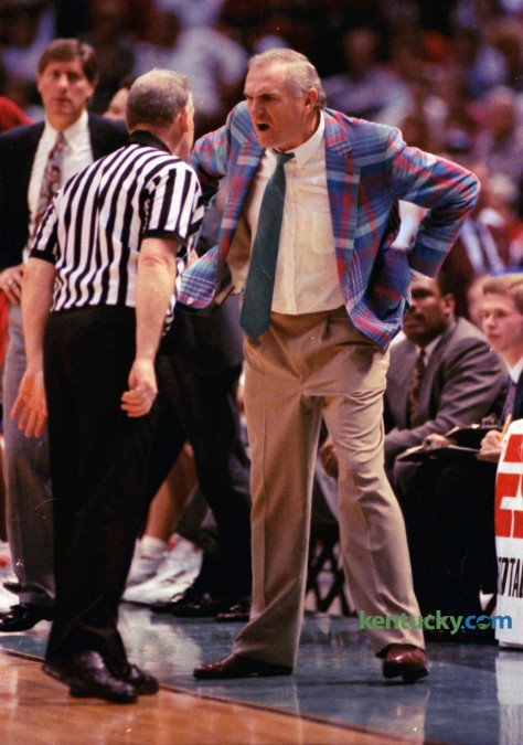 University of Alabama head coach Wimp Sanderson has a word with an official during the 1992 SEC Tournament against Kentucky. UK won 80-54, March 15, 1992. Coach Sanderson, now retired, coached at Alabama from 1981 to 1992 and the University of Arkansas at Little Rock from 1994 to 1999. Photo by Charles Bertram | Staff