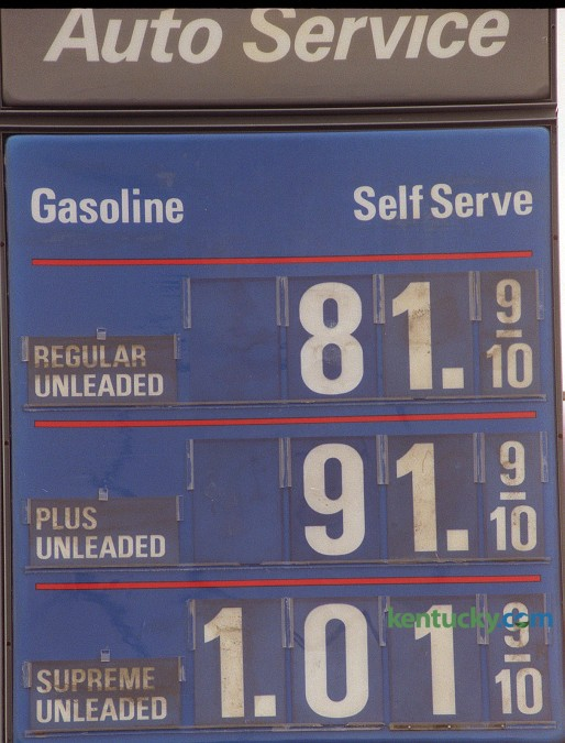 Sign at Wilfong's Chevron at the corner of St. Ann and Richmond Road in Lexington displaying gas prices on Thursday, Dec. 10, 1998.  At the time of this picture, it was the lowest price of gas per gallon since 1989. Photo by Frank Anderson | staff