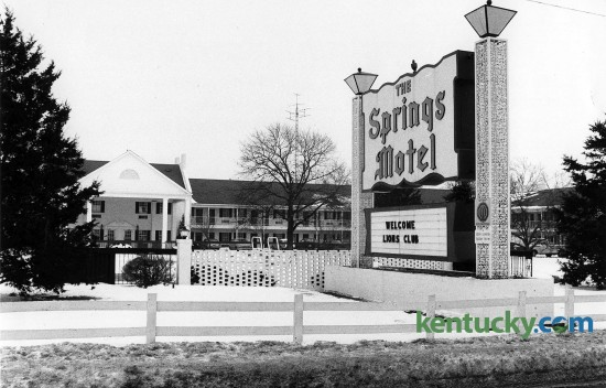 The Springs Motel, later renamed the Springs Inn, Feb. 6, 1985. The motel opened in 1948 with 68 rooms on  Harrodsburg Road which was a two-lane road at the time. Across the road from the motel was a farm that would later become Turfland Mall. Even as newer hotels and motels were built, because of its proximity to Keeneland, the Springs remained popular with people in the horse industry when they came to town. The dining room was popular for its hot browns, prime rib, fried chicken and Southern-style green beans. It was renamed the Springs Inn in the 1980s and closed Nov. 23, 2008. The landmark motel was razed the next year. A CVS drugstore, a McDonald's and a Raising Cane's Chicken Fingers restaurantwas built on the site. Photo by Ron Garrison | staff