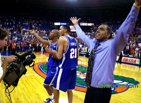 Tubby Smith, along with Tayshaun Prince and Keith Bogans, played to a hostile crowd after No. 10 Kentucky pulled out a two-point victory in Florida's O'Connell Center Jan. 29, 2002. After a plastic bottle was hurled in their direction, the trio were hustled off the floor. Bogans led Kentucky with 20, and Prince had 19 against the Gators who were ranked fifth in the nation at the time. Photo by David Perry   staff