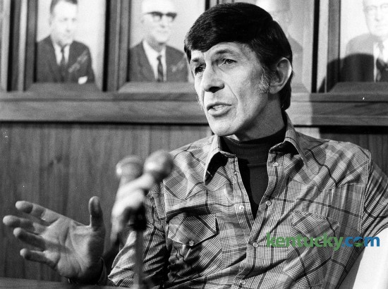 """Actor Lenoard Nimoy spoke at Eastern Kentucky University on Feb. 16, 1978. Nimoy was known for his role as Mr. Spock in the """"Star Trek"""" TV series and movies. When he spoke at EKU in Richmond, filming for the science-fiction series had been completed 10 years ealier. But Nimoy told the crowd, """"it's had an amazing afterlife."""" As proof, a boy about 4 or 5 years old slipped down the aisle to the Hiram Brock Auditorium stage and called for Nimoy to hold him. Nimoy picked him up, carried him to the microphone and said, """"See, there is magic in the character. There are lots of reasons to respond to Spock. ... we all sense his dignity."""" Photo by David Perry 