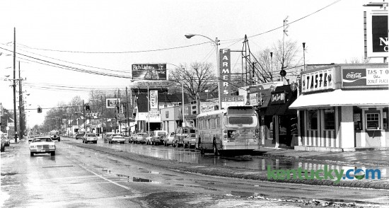 The Chevy Chanse neighborhood of Lexington, looking down Euclid Ave. at the intersection of East High St., Feb. 26, 1980. At right is Tas-t- o Donuts, a 24-hour popular stop for bar patrons nearby, including next-door neighbor Chevy Chase Inn. Photo by John C. Wyatt | staff