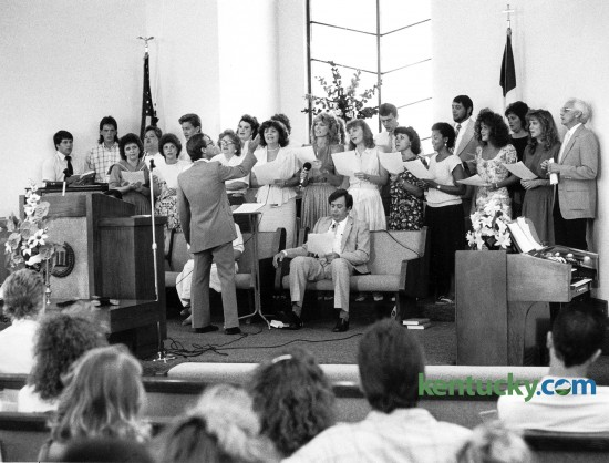 The choir at the First Assembly of God Church in Richmond, Ky. sang during a service August 14, 1988. Photo by John C. Wyatt | Staff