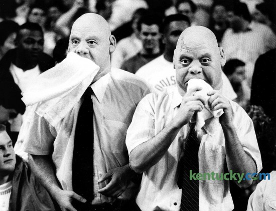 Louisville basketball fans mimic UNLV coach Jerry Tarkanian during the Cards' 97-85 loss to the Runnin' Rebels at Freedom Hall in Louisville. The loss dropped U of L to 7-9. for the seaosn, the Cards finished 14-16 and did not make the NCAA Tournament. Photo by Ron Garrison | staff
