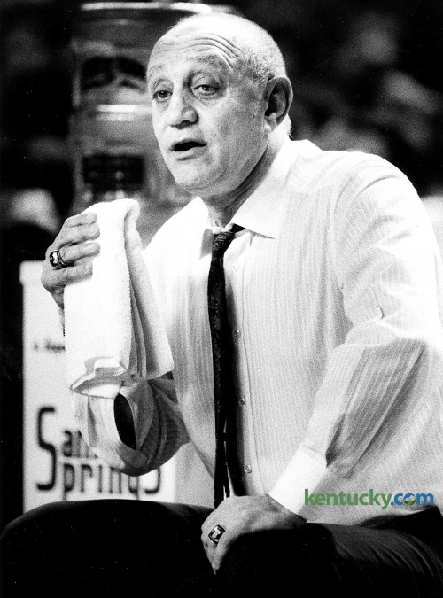 UNLV coach Jerry Tarkanian held a towel during the Runnin' Rebels 97-85 win over Louisville Jan. 26, 1991 in Freedom Hall. The win improved UNLV's record to 15-0 and they went on to enter the NCAA Tournament undefeated. The defedning National Champion Runnin' Rebels were upset in the the national semifinals to eventual champions Duke, 79-77. Photo by Ron Garrison | staff