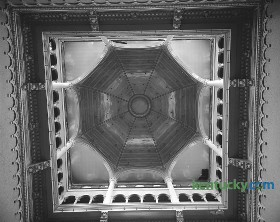 "Interior of the ""Starry dome"" in the Fayette County Courthouse, which was slated for an extensive remodeling job in 1960-61. Construction on this, the fifth Fayette County Courthouse, began in July of 1898 and was finished February 1, 1900. The new courthouse was a Richardson Romanesque style, a three-story stone masonry building, with a dome, clock and cupola (with weather vane). In 1960-1961, the interior of the courthouse was extensively renovated, to provide more courtrooms and offices. These renovations included the removal of the interior ""Y"" stairs and closing off the dome. The last trial was held in the courthouse in 2002 and in 2003 the Lexington History Center opened. During 2012, the courthouse was closed to the public due to lead paint and asbestos found in the upper floors. Proposals are under currently under consideration to restore the courthouse to the original design. Published in the Lexington Herald-Leader August 28, 1960. Herald-Leader Archive Photo"