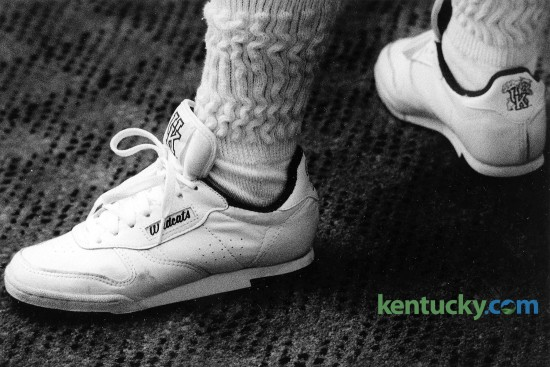 In May 1989, the Lexington Jaycees hoped to raise $26,000 for the homeless by selling these imitation Reebok white leather tennis shoes with the University of Kentucky Wildcat logo. The Jaycees hoped to sell 7,500 of the shoes for $35 a pair to generate $7.50 in profit from each pair, said Brian Gardner, then president of the Lexington civic organization. The Jaycees received the shoes through Stan Widman Distributing Co. of Omaha, Neb., Gardner said at the time. The distributing company had acquired the shoes at reduced prices. Photo by Michael Malone | staff