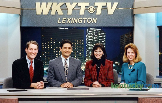 WKYT-TV (Channel 27) broadcasters, Feb., 1993, from left: sportscaster Rob Bromley; anchor Sam Dick; anchor Barbara Bailey; meteorologist Cindy Preszler. Photo provided