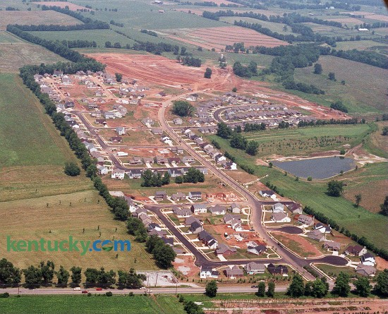 Aerial picture of Masterson Station subdivision on Leestown Road in northwestern Fayette Co. in Lexington, July 11, 1997. Leestown Road runs left to right across the bottom of the photo and Masterson Station Park is up the left side. Photo by Frank Anderson | staff