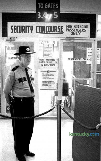 Security checkpoint at Blue Grass Airport, Dec. 9, 1974.