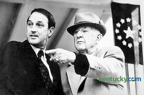 """Kentucky's newest governor Wallace Wilkinson, left, shared a moment with former Gov. A.B. """"Happy"""" Chandler during inauguration ceremonies, Tuesday Dec. 15, 1987 at  the Capitol in Frankfort. Chandler served as Grand Marshal for the parade in honor of Wilkinson.  Photo by Tim Sharp 