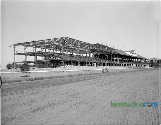 A steel skeleton of the new addition to the grandstand at Keeneland shows the effect the addition will have on the size and seating capacity of the grandstand. Published in the Lexington Herald July 24, 1953. Herald-Leader Archive Photo