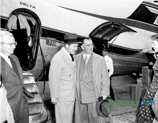 Comedian, actor and singer Bob Hope is greeted by ex-Kentucky Gov. Happy Chandler upon his arrival May 1, 1953 at Blue Grass Field in Lexington. Staff file photo