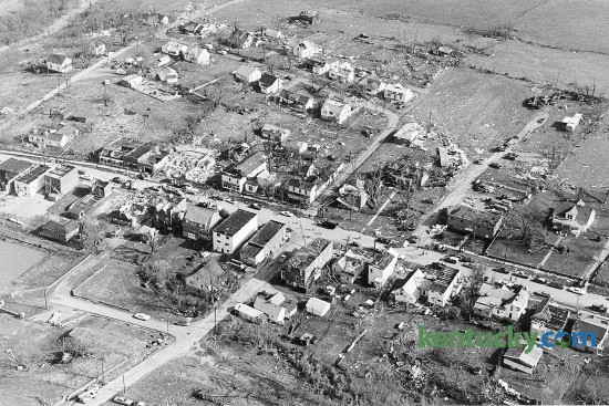 Aerial view of Stamping Ground, April 4, 1974 after a tornado nearly leveled the Scott County town April 3, 1974. on April 3 and 4, 1974, the greatest tornado outbreak in U.S. history took place, stretching from the Deep South to the Great Lakes. A weather system that included 148 tornadoes spanned 18 hours and struck 13 states. It killed 315 people and injured 6,100. The total damage reached a half-billion dollars. 77 people died in Kentucky and Stamping Ground was the hardest-hit community in Central Kentucky but no one in the town died. Herald-Leader file photo
