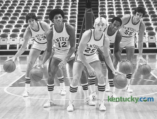 The starting five for the University of Kentucky basketball team's first game in Rupp Arena Nov. 27, 1976: (left to right) Rick Robey, Larry Johnson, Jay Shidler, Jack Givens and Mike Phillips. Phillips, one of 'Twin Towers' on UK's 1978 national championship team, died April 25, 2015. Photo by E. Martin Jessee | staff