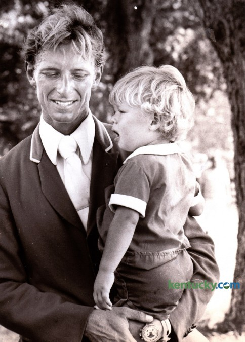 Bruce Davidson held his son Buck after winning his second World Championship September 17, 1978 at the Kentucky Horse Park. Davidson rode Might Tango in the first World Three Day Event held at the Kentucky Horse Park September 15-17, 1978. The year before he won the World Championship at Burghley in England. Photo by Christy Porter | Staff