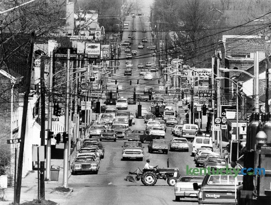 Downtown Nicholasville, looking down Main Street (U.S. 27), March 1979. Photo by Frank Anderson | staff
