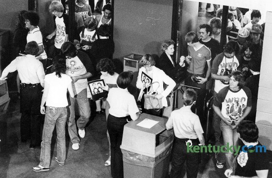 At 6:20 p.m. July 11, 1980, the Rupp Arena gates opened for fans to attend the Who rock concert. It was the British rock groups first show in the area since a December 1979 performance in Cincinnati in which 11 young people died while trying to get into Riverfront Coliseum. A first-come, first-seated policy or festival seating was blamed in part for the deaths. Rupp Arena sells concerts on a reserved-seating basis but officials wanted to make sure safety was a priority. Ten Lexington fire officials, at least four undercover police narcotics officer and an estimated 150 off-duty police and private security officers watched for trouble from the 21,000 fans in attendance. No injureis were reported but 40 were arrested on a variety of drug charges. Tickets for the show cost $8-12. Photo by Christy Porter   staff