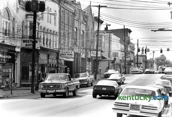 Downtown Mount Sterling in Montgomery County, looking west down Main Street, September, 1982. Photo by Gary Landers   staff