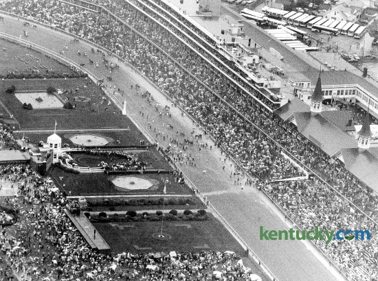 Aerial view of Churchill Downs just after Sunny's Halo won the Kentucky Derby, May 7, 1983. 134,444 people were in attendance to see Sunny's Halo take the lead on the backstretch and finish with a two-length victory. Photo by Steve Lowry