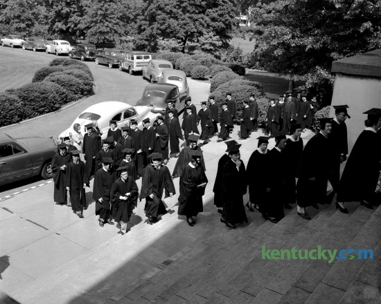 The graduating class at Transylvania College filed up the steps at Old Morrison prior to commencement  ceremonies  June 10, 1950. Today, May 23, 2015,  204 students of the class of 2015 will receive their bachelor's degrees during a ceremony on the front lawn of historic Old Morrison. Published in the Lexington Leader June 12, 1950.