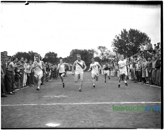 High School regional track meet at the University of Kentucky's Stoll Field, May 10, 1946. Shown is the finish of the 100-yard dash, which was won by Jimmy Hibbard of Henry Clay High School in 10.5 seconds. Herald-Leader Archive Photo
