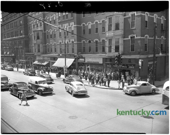 100 block of East Main Street in donwtown Lexington at the intersection of South Linestone, May 1945. The site is now Phoenix Park. Herald-Leader Archive Photo