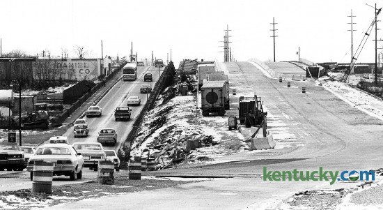 Looing west from downtown, construction of the new High Street viaduct (U.S. 60) in Lexington, Feb. 3, 1981. At left is the old two-lane road and at right is the new four-lane road that eventually turns into Versailles Road. Photo by E. Martin Jessee | staff