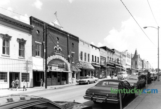 Downtown Harrodsburg in Mercer County, looking south down Main Street, July, 12, 1982. The building that housed the Jocko and Horace Pool Hal and lunch counterl in the middle of this photo was torn down and is now a parking lot. Photo by John C. Wyatt | staff