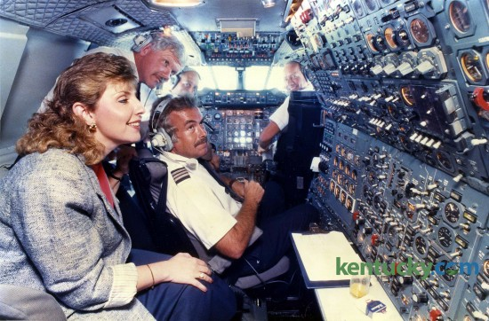 All passengers aboard the flight were invited into the cockpit, including Joan Owens of Lexington.