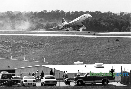 The Concorde touched down at Blue Grass Airport on Aug. 9, 1989. This Concorde was the last of only 20 ever built. The airliner was much narrower than most other jets: 91/2 feet across, with two gray bucket seats on each side of the aisle. Passengers could not easily see the graceful finlike wings from the small windows.