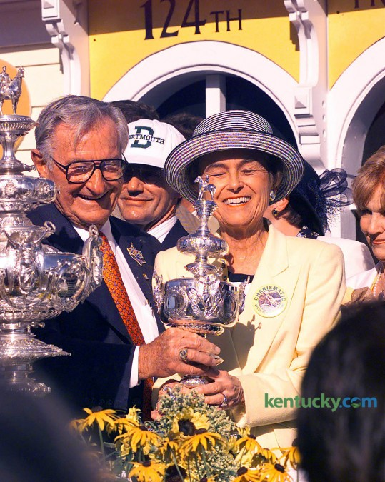 Owners Bob and  Beverly Lewis after thier horse Charismatic won the 124 th Preakness Stakes May 15, 1999 to claim the second leg of horse racing's triple crown. Charismatic would fall short of the triple crown, finishing third in the Belmont Stakes after jockey Chris Antley eased Charismatic up in the final furlong of the race because he felt the horse's leg break. The Lewises, who made their money in the beer industry, did not get into horse racing until the 1990s. They had had six Eclipse Award winning horses, including Silver Charm and Charismatic. The couple were awarded the Ecplise Award of Merit in 1997, the industry's highest honor. Other notable horses owned by the Lewis' include: Timber Country, Serena's Song, Fokelore, and Orientate. Bob Lewis died in 2006. In 2007, a Kentucky Derby prep race was renamed in his honor. Photo by Mark Conrelison | staff