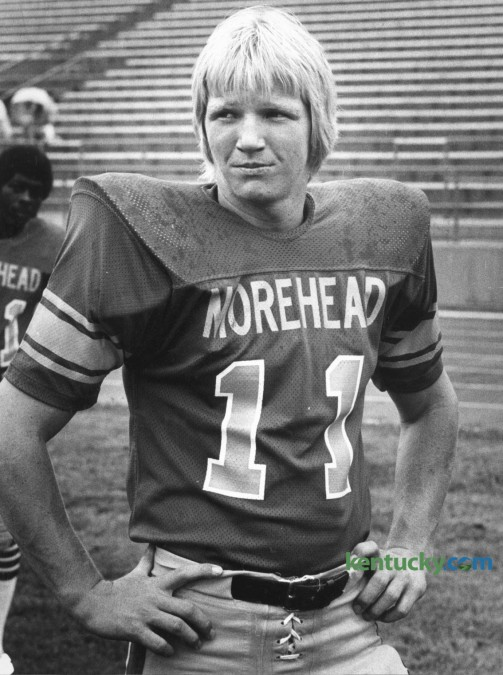 Morehead State University quarterback Phil Simms in 1978.  Simms was born in Springfield, Ky and grew up in Louisville, graduating from Southern High School. He attended MSU compiled a 9-28 record but his 5,545 yards and 32 touchdowns caught the eye of several NFL scouts. He was drafted in the first round in 1979 by the New York Giants with their seventh pick. Simms played his entire professional career with the Giants and was named MVP of Super Bowl XXI, after he led the Giants to a 39Ð20 victory over the Denver Broncos and set the record for highest completion percentage in a Super Bowl. He went into broadcasting after his playing days and currently works for CBS calling NFL games. Photo by Ron Garrison | Staff