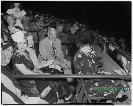 Box guests at the Lexington Junior League Horse Show in July 1946. From left to right, Mrs. Barckley Storey, Mrs. Thomas R. Underwood, Governor Simeon S. Willis. Front row, Mrs. Willis. Governor Willis gave the opening address at the show. Published in the Lexington Leader July 16, 1946. Herald-Leader Archive Photo