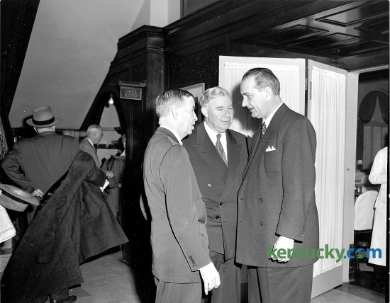 From left, U.S. Senators Dennis Chavez (D, N.M.), Ernest W. McFarland (D, Az., Senate Majority Leader) and Lyndon B. Johnson (D, Tx., Senate Majority Whip) talk during funeral services for Kentucky Senator Virgil Chapman, March 11, 1951 at the Lafayette Hotel in downtown Lexington. A 25-year veteran of Congress, Chapman was killed in an auto accident in Washington D.C. He was a University of Kentucky Law graduate and is buried in Paris Cemetery in Paris. 12 years after this picture, Johnson would become President of the United States after the assassination of John F. Kennedy. Herald-Leader Archive Photo Pictures in connection with funeral services for Senator Virgil Chapman.  Senators Dennis Chavez, Ernest W. McFarland and Lyndon B. Johnson chat at Lafayette hotel. Published in the Lexington Leader March 12, 1951. Herald-Leader Archive Photo