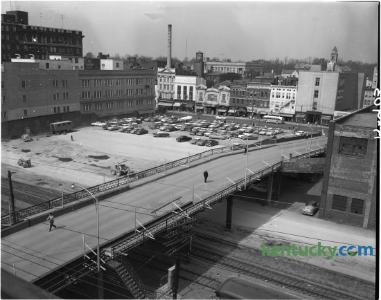 View from the Fred Bryant Motor Company on High Street of the Walnut Street viaduct and the empty lot where the former Union Station stood.   On May 9, 1957, the last passenger train departed from Lexington's Union Station.  The station was closed due to high operating overhead and low passenger travel. In March 1960, the building was demolished. Published in the Lexington Leader April 15, 1960. Herald-Leader Archive Photo