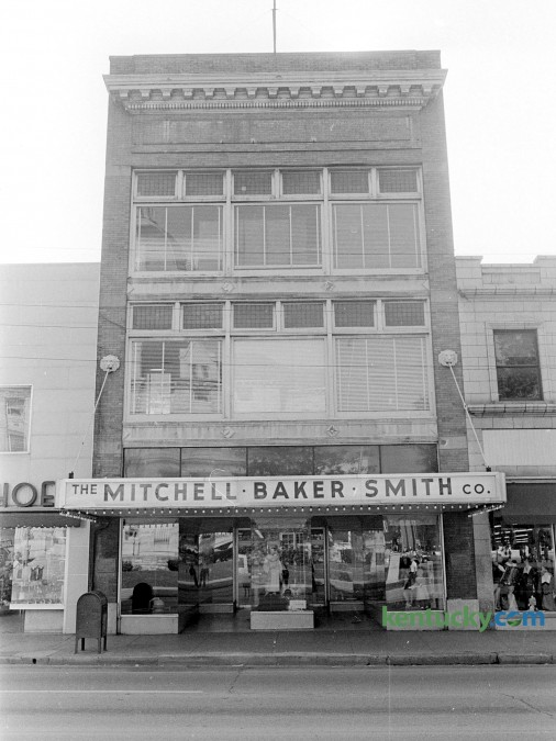 """The Mitchell Baker Smith Co., 230 West Main St. in downtown Lexington, Oct. 1965. At the time of this picture, the department store was celebrating its 100th anniversary on October 3, 1965 with a ribbon cutting and employees dressed in old colthing styles. The building was torn down and is now a parking garage for the Lexington Financial Center, locally known as """"Fifth Third"""" or the """"Big Blue Building"""". Herald-Leader archive photo"""