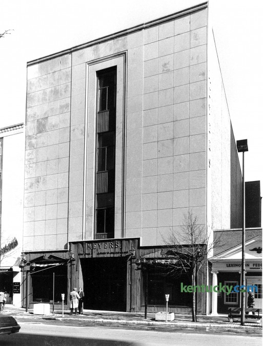 The Meyers Building in downtown Lexington at the intersection of on East Main Street and Martin Luther King Boulevard, Feb. 17, 1985. For 15 years it was a fine men's and women's clothing business. Photo by John C. Wyatt | Staff