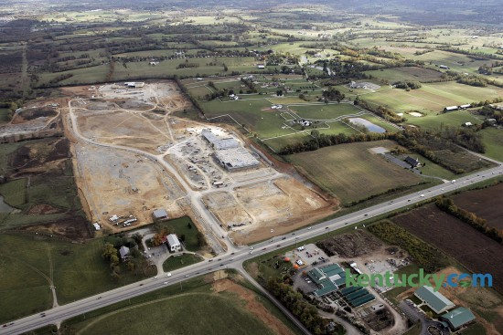 Aerial view of a the Brannon Crossing Shopping Center development Friday, Oct. 28, 2005 on U.S.27 at Brannon Road just across the Fayette and Jessamine county line. Under construction at the center of the 94-acre shopping center is a Kroger grocery store. Towards the back is the AM Star 14 movie theater. Future development of the area included an extension of East Brannon Road, which would run towards the top of this picture and connects to a residential area. At the bottom, on the opposite side of U.S. 27, is King's Gardens Garden Center. They later moved and the site is now a Cracker Barre restaurant. Photo by David Stephenson | staff