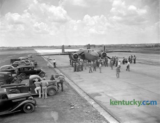 A crowd gathered at Blue Grass Field on July 11, 1942  to watch the first airplane land on the paved runway. The U.S. Army B-25 bomber was being flown from Meridian, Miss. to Wright Field in Dayton, Ohio. Published in the Lexington Herald July 14, 1942. Herald-Leader Archive Photo