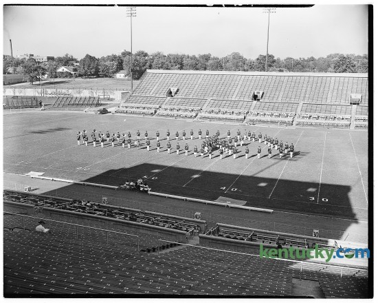 The University of Kentucky's 80-piece marching band pictured on Stoll Field during a practice session, Oct. 5, 1946. Herald-Leader Archive Photo