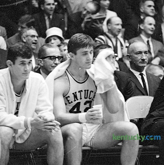 University of Kentucky basketball player Pat Riley rests on the bench in the closing minutes of the No. 2 Cats 96-83 win over No. 3 Vanderbilt, Jan. 15, 1966. Riley and Louise Dampier combined for 52 points in what would be the Cats' 12th straight victory of the season. UK would go on to finish the year 27-2, No. 1 in the final AP and UPI rankings but would lose in the NCAA title game to Texas Western. Riley went on to play in the NBA where he was a perennial bench player, but later became regarded as one of the greatest NBA coaches of all time, winning five championships. Herald-Leader archive photo
