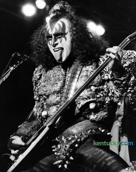 """Gene Simmons, bass guitarist/co-lead vocalist  of KISS, played in Rupp Arena in Lexington, Wednesday, May 16, 1979. The tour was in support of their newly released album, """"Dynasty"""". He co-founded the band in January of 1973. The rock band played Rupp Arena eight times from 1977-2000. Photo by Charles Bertram   Staff"""