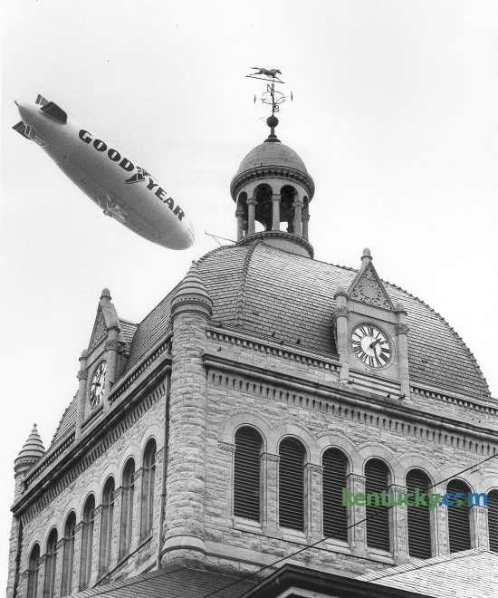 The Goodyear Blimp flew over the Fayette County Courthouse on August 18, 1980. Goodyear flew their first airship on May 24, 1917 and have been flying blimps ever since. The 1980 World Series was the first to be televised from a Goodyear Blimp. Photo by Charles Bertram | Staff