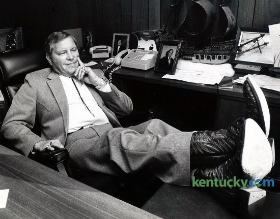 Attorney Lester Burns Jr., wearing sea turtle skin boots, in his Somerset law office, December 30, 1982. Burns, a one-time candidate for governor and one of the state's most colorful, best-known defense attorneys before going to federal prison in a fraud case, died Tuesday July 7, 2015. Photo by Charles Bertram   Staff