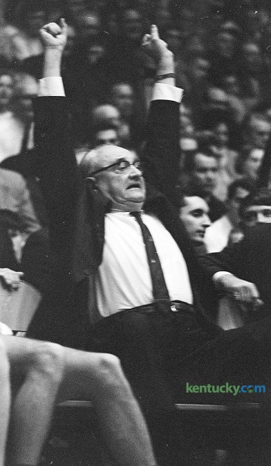 University of Kentucky basketball coach Adolph Rupp reacts to a to a play during the Cats' 85-75 win over Florida Feb. 7, 1966 in Memorial Coliseum. Kentucky would finish the season 27-2, losing in the NCAA title game to Texas Western. Sept. 2, 2015 would have been the legendary coaches 114th birthday. Herald-Leader Staff Photo